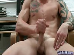 Hot Beefed And Tattoed Stud Busts His Nuts Four By Gotexbf