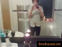 Punk Red Haired Jerking His Cock In The Mirror By Emosexposed