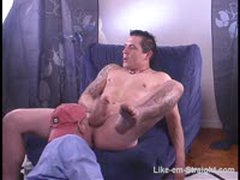 Beefy Muscular Macho str8 Dude With Tattoos Gets Rimmed And A Blowjob.